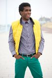 Happy African American Man Smiling Outdoors Stock Photos