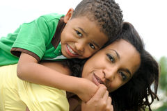 Happy African American Mother and Child Stock Images