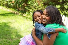 Happy African American mother and daughter. Portrait of a happy African American family Stock Photo