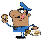 Happy African American Police Officer Eating Donut stock illustration