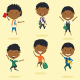 Happy African American school boys jumping outdoor. stock illustration