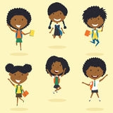 Happy African American school girls jumping. vector illustration