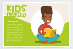 Happy African American teen boy sitting and reading paper book. Enjoying literature. White and green kids land card or vector illustration