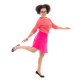 Happy african american teenage girl in pink posing Stock Photography