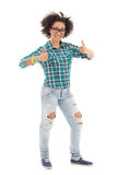Happy african american teenage girl thumbs up isolated on white Stock Photos