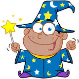 African American Wizard Boy Waving With Magic Wand Royalty Free Stock Image