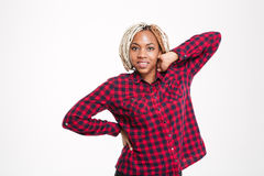 Happy african american woman in checkered shirt Royalty Free Stock Photography