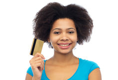 Happy african american woman with credit card Stock Image
