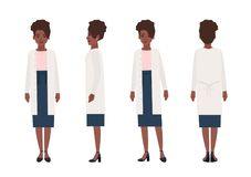 Happy african american woman dressed in casual clothing isolated on white background. Elegant stylish female cartoon. Character wearing skirt and cardigan Royalty Free Stock Image