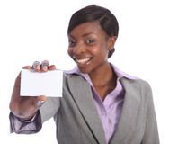 Happy african american woman holding business card Stock Image
