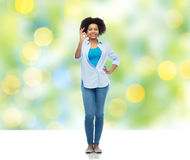 Happy african american woman showing ok hand sign Royalty Free Stock Photo