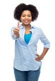 Happy african american woman showing thumbs up Royalty Free Stock Image