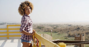 Happy African American Woman Smiling Outdoors stock images
