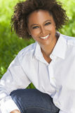 Happy African American Woman Smiling Outside Stock Photography
