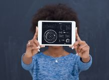 Happy African American Woman Using Digital Tablet Stock Photos