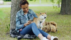 Happy African American woman is using smartphone and caressing her cute pet dog resting in city park on windy summer day. Happy African American woman is using stock footage
