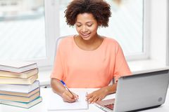 Happy African American Woman With Laptop At Home Stock Photos