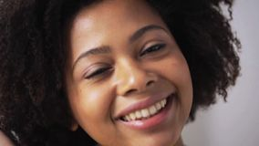 Happy african american young woman face stock footage