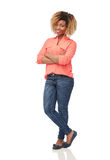 Happy african american young woman over white Stock Images