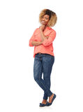 Happy african american young woman over white Stock Photos