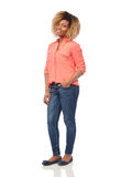 Happy african american young woman over white Royalty Free Stock Photo