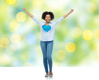 Happy african american young woman over white Royalty Free Stock Photography