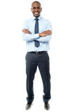 Happy african businessman arms folded Royalty Free Stock Image