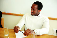 Happy african businessman at the meeting Stock Photos