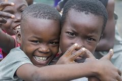 Happy african children. Accra, Ghana - December 28, 2016: happy children in a street in Accra, Ghana Royalty Free Stock Photography