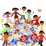 Happy African children around the world blossoms Stock Photo