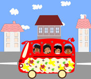 Happy African children go to school bus Royalty Free Stock Photos