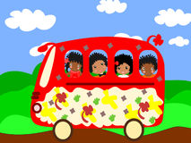 Happy African children go to school bus Royalty Free Stock Images