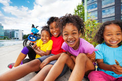 Happy African children having fun together outdoor royalty free stock photography