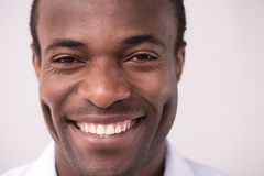 Happy African descent men. Portrait of cheerful African descent man smiling at camera Stock Photo
