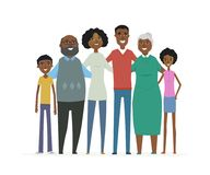 Happy African family - cartoon people characters isolated illustration. On white background. Smiling relatives standing together and hugging. Wife, husband Stock Photos