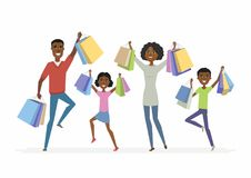 Happy African family enjoys shopping - cartoon people characters isolated illustration. On white background. Smiling parents with children carrying package with Stock Image