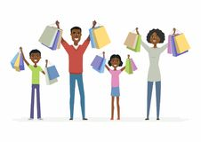 Happy African family enjoys shopping - cartoon people characters isolated illustration. On white background. Smiling parents with children carrying package with Royalty Free Stock Photos