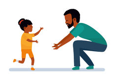 Happy African family. Family leisure. The girl laughs and runs into the arms of the father. African American people. Vector illustration in a flat cartoon Royalty Free Stock Photo