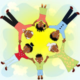 Happy African family holding hands in a circle Royalty Free Stock Images