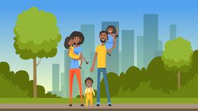 Happy african family with many children on city background, flat vector illustration. Web banner Stock Photos