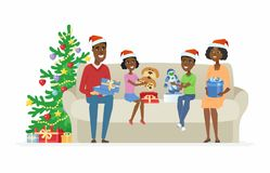 Happy African family open Christmas presents - cartoon people characters illustration. On white background. Parents and children sitting on a sofa near decorated Royalty Free Stock Image