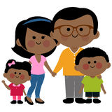 Happy African family. Vector illustration of a happy African family: Two parents and their children, a girl and a boy Stock Photos