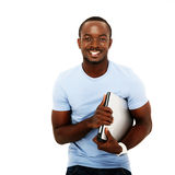Happy african man standing with laptop Stock Image