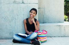 Happy african student girl Stock Photos