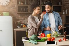 Happy african wife feeding husband while cooking Royalty Free Stock Image