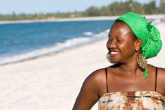 Happy African woman. Looking to the sea Royalty Free Stock Image