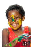 Happy african youngster with painted face. Royalty Free Stock Photos