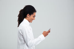 Happy afro american businessman using smartphone Royalty Free Stock Photo