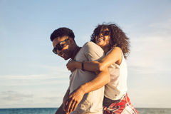 Happy afro american couple having fun together Stock Images