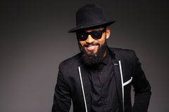 Happy afro american man in fashion cloth and glasses Stock Images